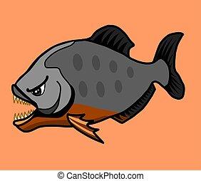 fish., feroce, piranha, pericoloso