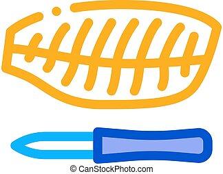 fish fillet icon vector outline illustration - fish fillet ...