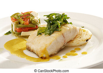 Fish fillet with fine herbs sauce - Gourmet recipe of baked...