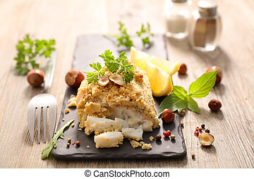 fish fillet with hazelnut breaded