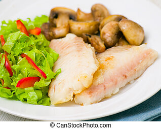 Fish fillet with mushrooms