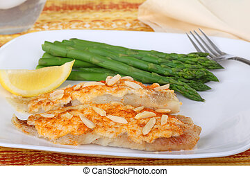 Fish Fillets and Asparagus - Fish fillets topped with crab...