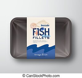 Fish Fillets Pack. Abstract Vector Fish Plastic Tray...