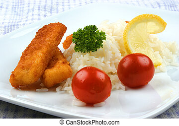Fish fingers with rice on a plate
