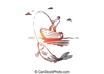 Fish, fishing, catch, boat concept. Hand drawn isolated vector.