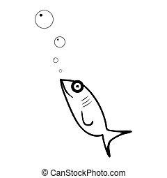 Fish flat icon. Isolated on white background. Vector illustration.