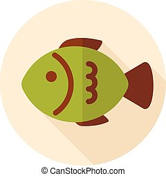 Fish flat icon with long shadow