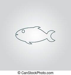 fish, fond blanc, icône