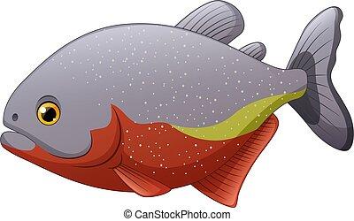 fish, fondo, cartone animato, bianco, piranha, isolato