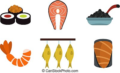 Fish food icon set, flat style