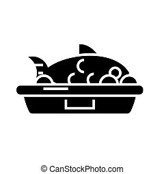 fish food icon, vector illustration, black sign on isolated background