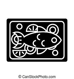 fish fried icon, vector illustration, black sign on isolated background