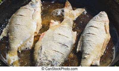 Fish fried in oil in pan