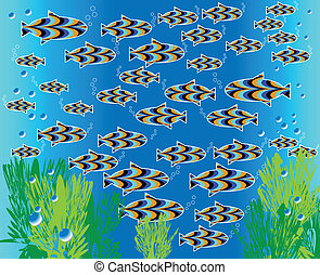 Fish Frolic (motion illusion) - Tropical fish swim back and...