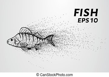 Fish from the particles. Fish consists of small circles and dots. Vector illustration