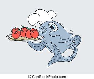 fish, frutte, chef