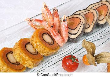 fish, gamberetti, imbottito