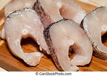 fish., gezonde , rauwe, diet., fris, stuk