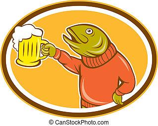 fish, grande tasse, bière, tenue, ovale, dessin animé, truite
