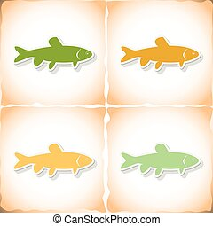 Fish grass carp. Flat sticker with shadow on old paper