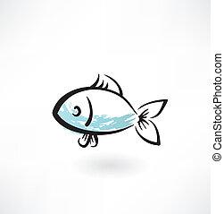 fish, grunge, ikon