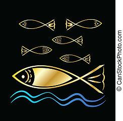 fish, gruppo, e, onde, fondo