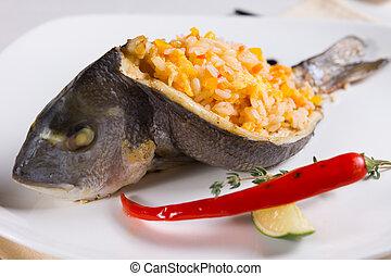 fish, haut, bourré, plat, fin, riz