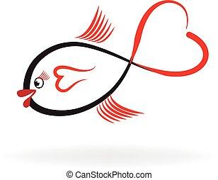 fish, hjärta gestalta, logo