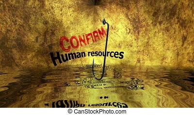Fish hook against human resources bait concept