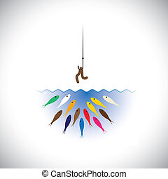 fish hook with worm as bait for fishing- vector concept -...