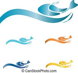 fish, hos, bølger, logo