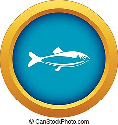 Fish icon blue vector isolated