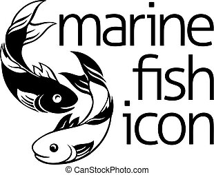 Fish Icon Concept - A fish concept symbol icon with two fish...