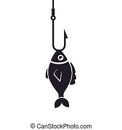 fish icon fishing hook isolated