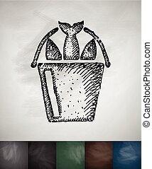 fish icon. Hand drawn vector illustration