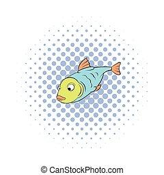 Fish icon in comics style