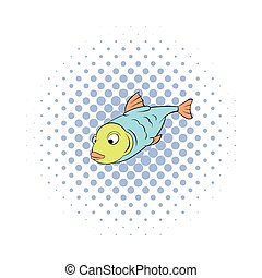 Fish icon in comics style