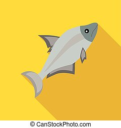 Fish icon in flat style