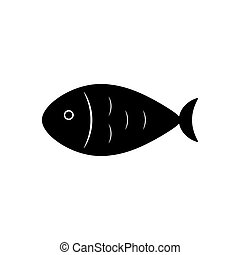 Fish icon isolated on white background. Vector illustration