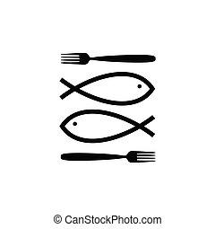 fish icon line illustration