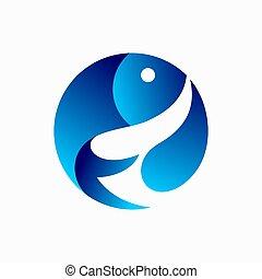 Fish icon logo design