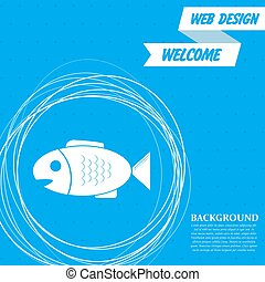 Fish icon on a blue background with abstract circles around and place for your text. Vector