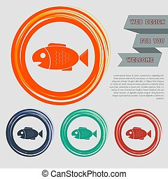 Fish icon on the red, blue, green, orange buttons for your website and design with space text. Vector