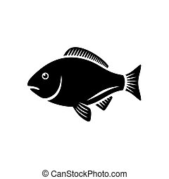 Fish Icon on White Background. Vector Illustration