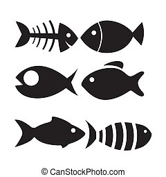 fish icon set isolated on white background