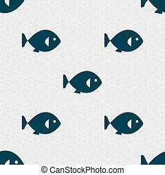 fish icon sign. Seamless pattern with geometric texture. Vector