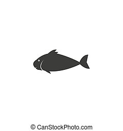 Fish icon Vector. Flat vector illustration in black on white background.