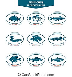 Fish icons in vector - Fish icons. Can be used for...