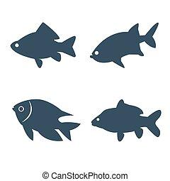 Fish icons set on white background.
