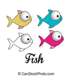 fish illustration - illustration of icons of fish, aquatic...